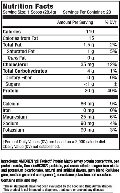 Amidren Protein Supplement Facts