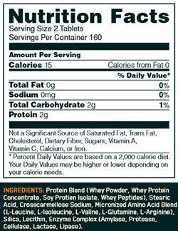 Superior Amino 2222 Tabs Nutrition Facts