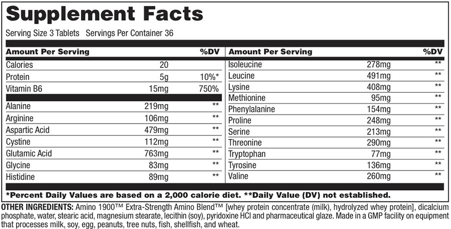 Amino 1900 Supplement Facts