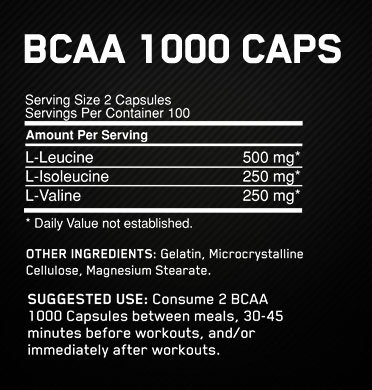 Optimum Nutrition BCAA Caps Supplement Facts