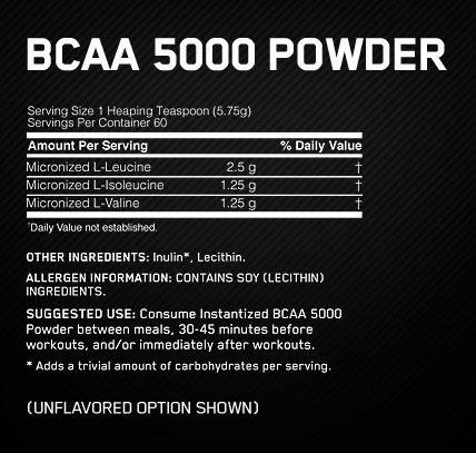 Optimum Nutrition BCAA Powder Supplement Facts