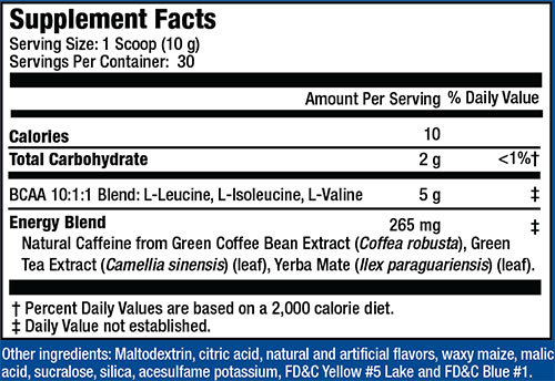 MHP BCAA 10X Energy Supplement Facts