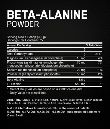 Optimum Nutrition Beta Alanine Supplement Facts
