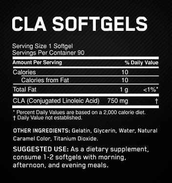 Optimum Nutrition CLA Supplement Facts