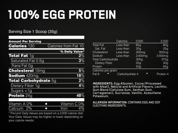 Optimum Nutrition Egg Protein Supplement Facts