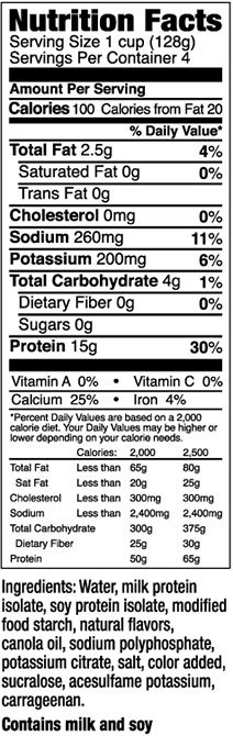 Power Pak Pudding Fit and Lean Supplement Facts