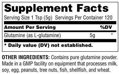 Universal Glutamine Supplement Facts