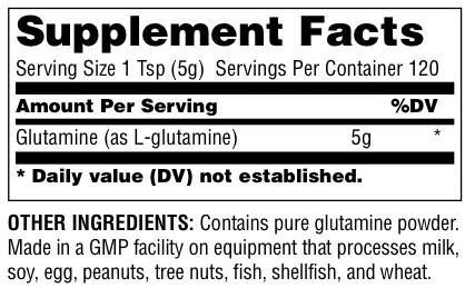 Universal Glutamine Supplement Facts