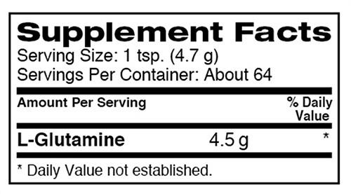Dymatize Glutamine Supplement Facts