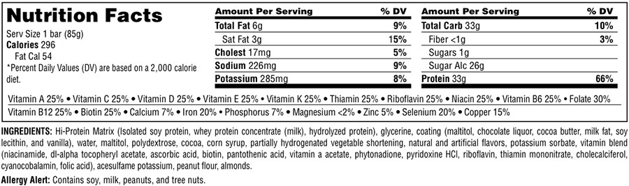 Universal Hi Protein Bar Nutrition Facts
