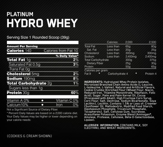 Hydro Whey Supplement Facts