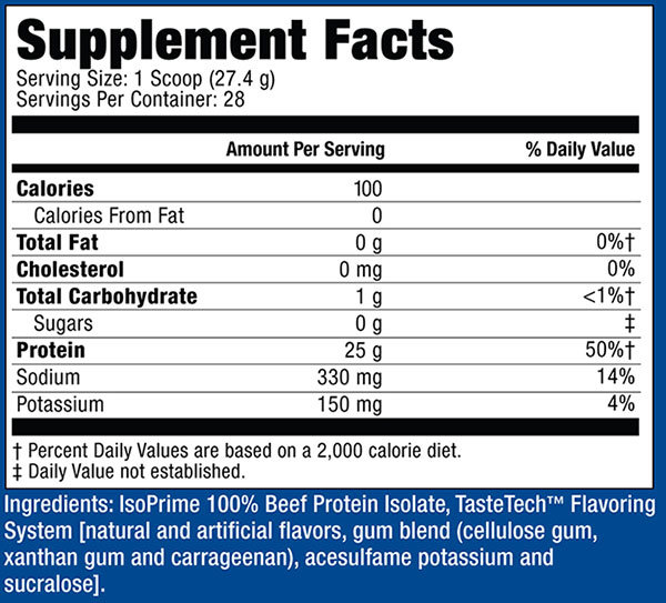 IsoPrime Beef Supplement Facts