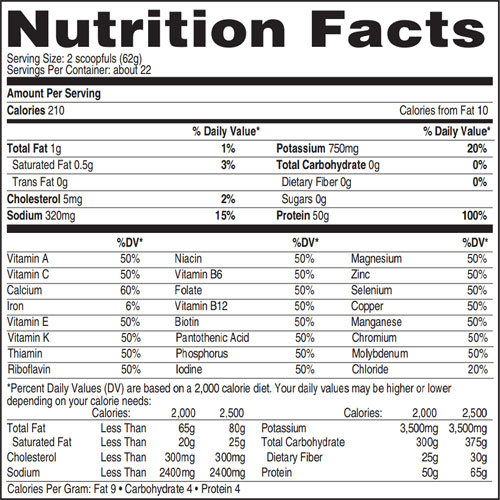 Isopure protein nutrition label