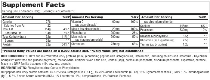 Lava Universal Nutrition Supplement Facts