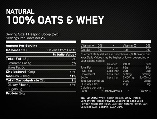 Optimum Nutrition Oats and Whey Supplement Facts