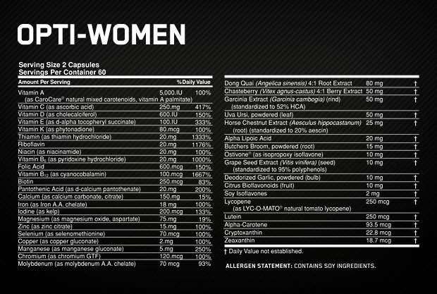 Opti-Women Supplement Facts