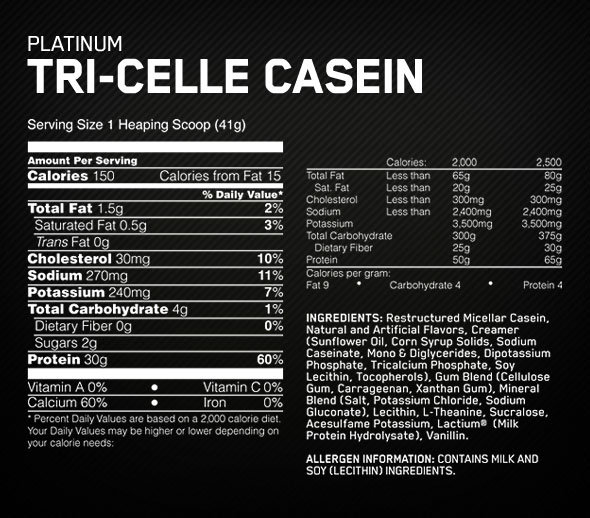 Platinum Tri-Celle Casein Supplement Facts