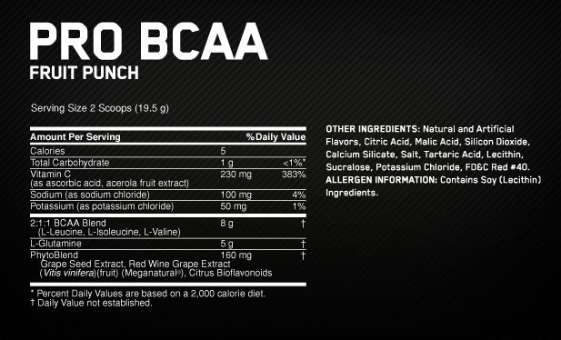 Pro BCAA Supplement Facts