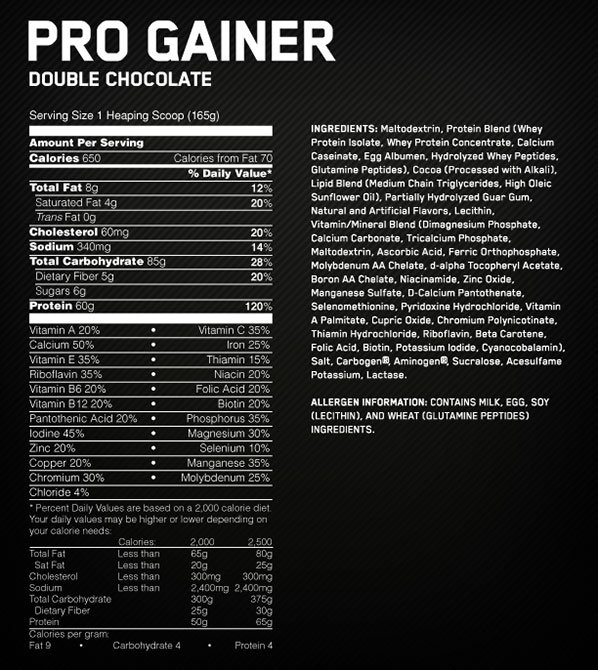 Pro Gainer Supplement Facts