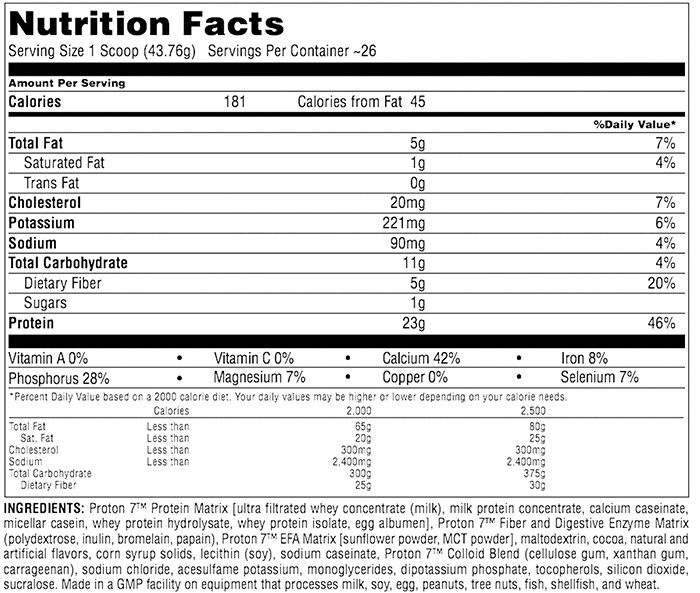 Universal Proton 7 Supplement Facts