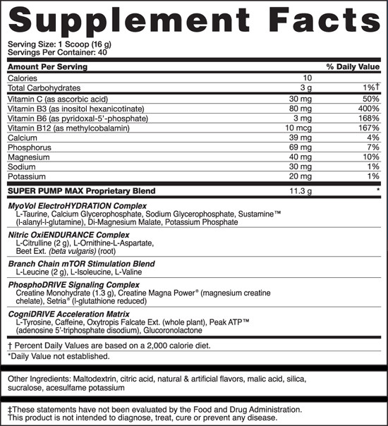 SuperPump Max Supplement Facts