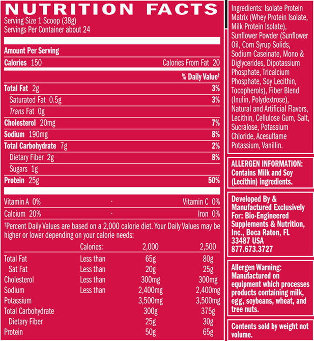 Syntha-6 Isolate Nutrition Facts