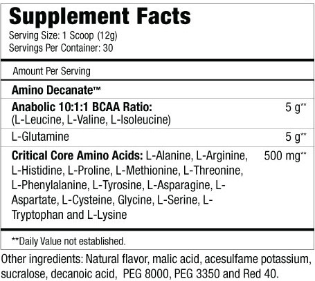 Amino Decanate Supplement Facts