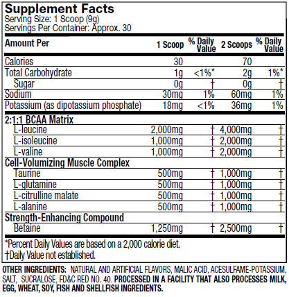 Muscletech Amino Build Supplement Facts