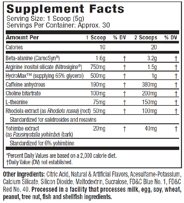 Muscletech Anarchy Pre Workout Supplement Facts