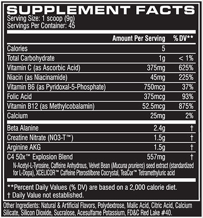 C4 50X Supplement Facts