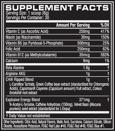 C4 Ripped Supplement Facts