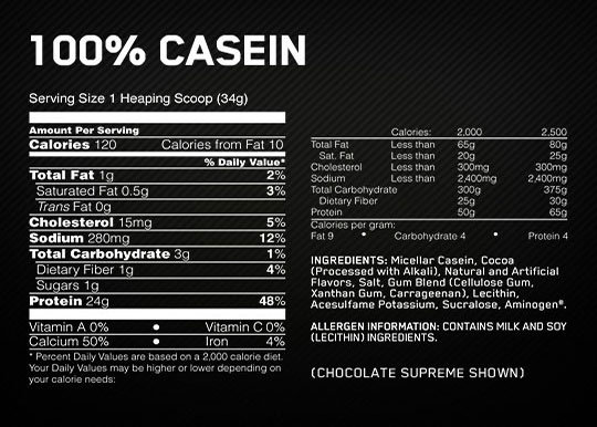ON Casein Supplement Facts