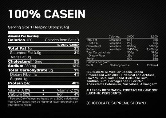 ON Casein Supplement Facts