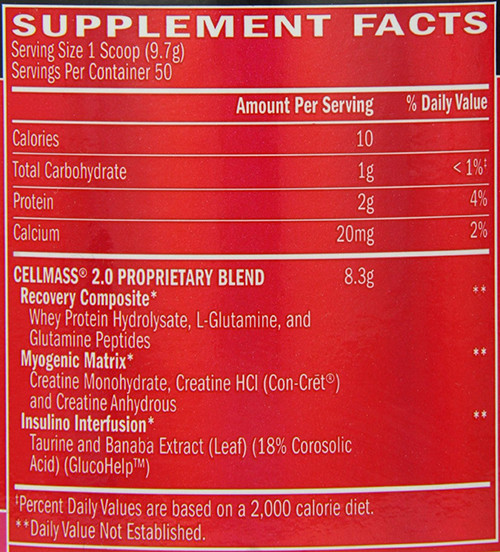 Cellmass 2.0 Supplement Facts
