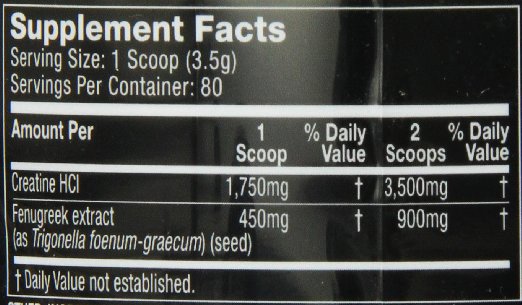 Muscletech Creacore Supplement Facts