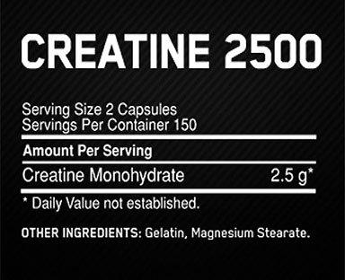 Optimum Creatine 2500 Supplement Facts