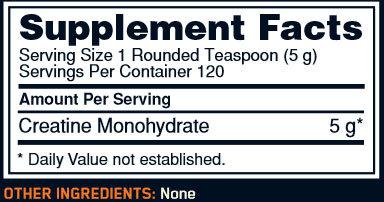 Optimum Creatine Powder Supplement Facts