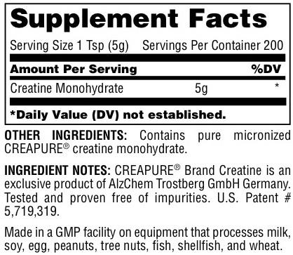Universal Creatine Powder Supplement Facts