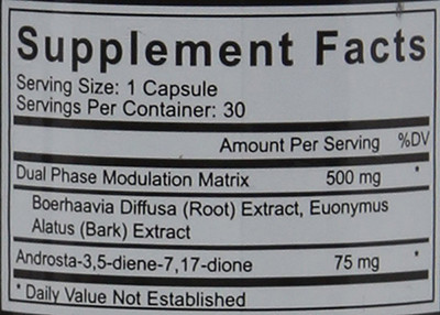 Erase Pro Supplement Facts