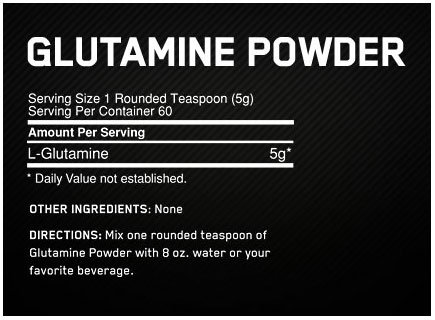 ON Glutamine Powder Supplement Facts