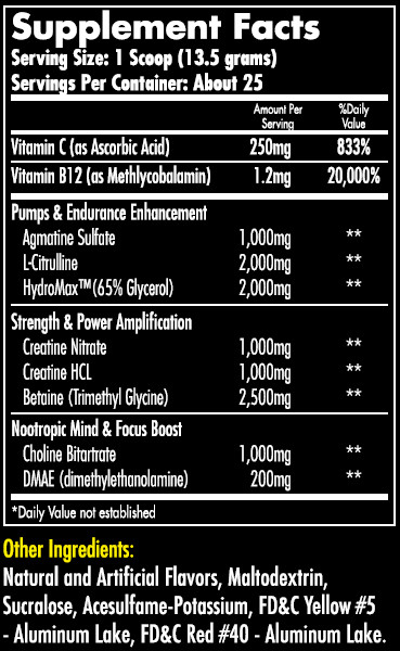 Hemavo2 Max Rainbow Sherbert Supplement Facts
