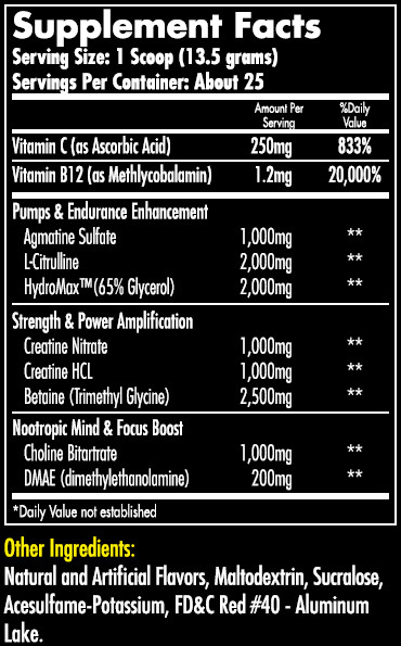 Hemavo2 Max Cherry Supplement Facts