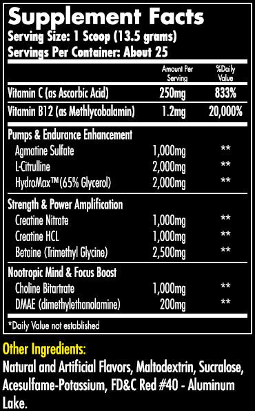 Hemavo2 Max Cherry Supplement Facts