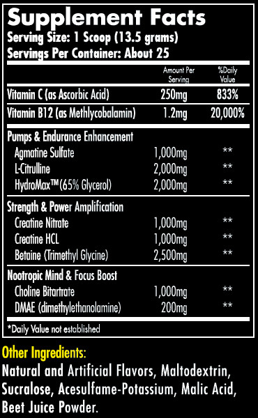 Hemavo2 Max Watermelon Supplement Facts