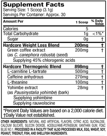 Hydroxycut Hardcore Elite Powder Supplement Facts
