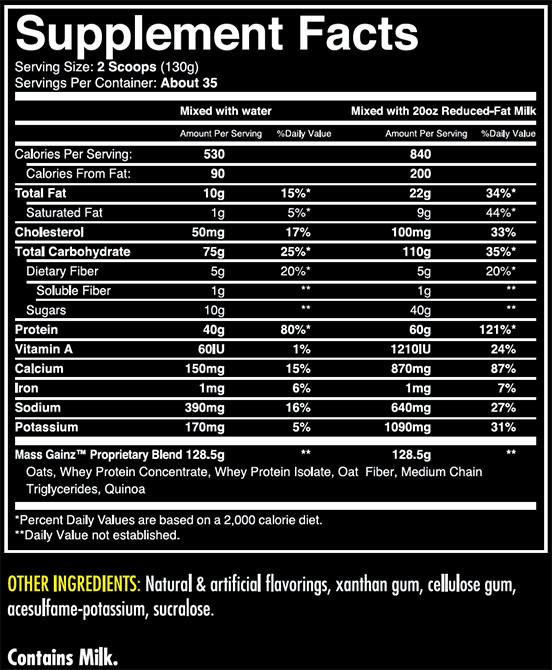 Mass GainZ Supplement Facts
