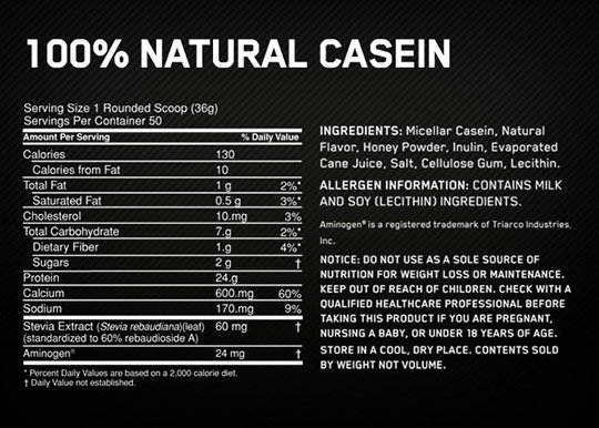 ON Natural Casein Supplement Facts