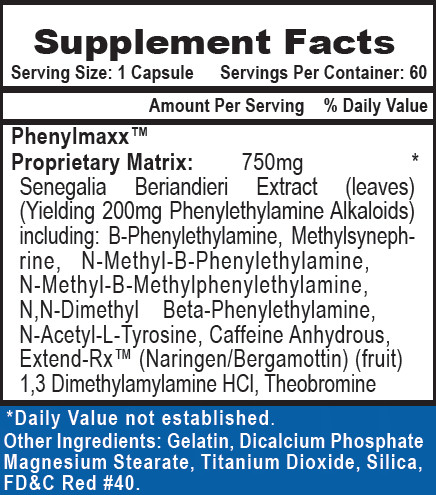 Phenadrine Supplement Facts