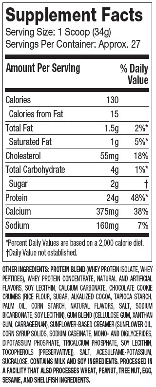 Muscletech Platinum Whey Protein Supplement Facts