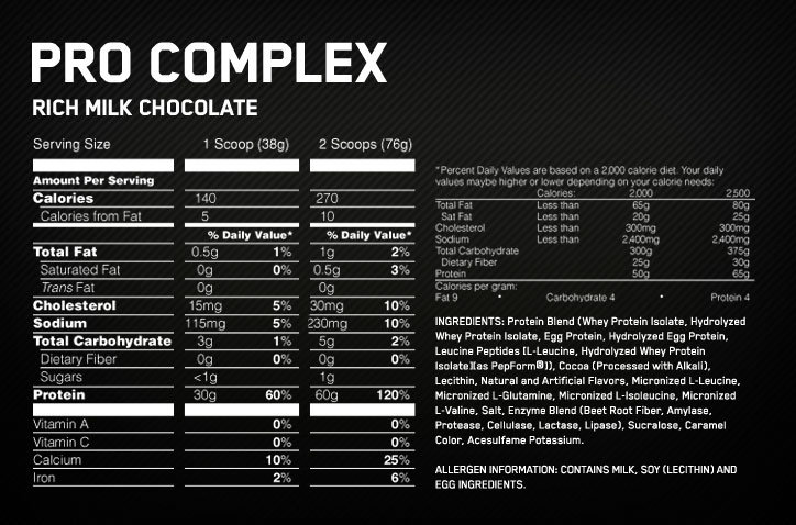 Pro Complex Supplement Facts